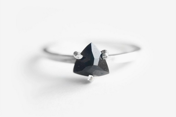 Onyx Trillion alternative engagement ring