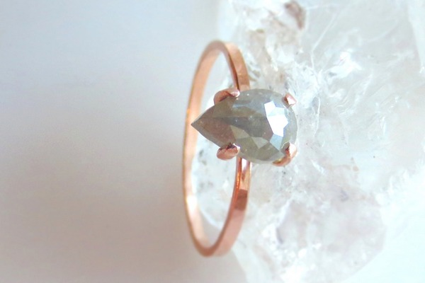 Pear Shape Rose Cut Diamond alternative engagement ring