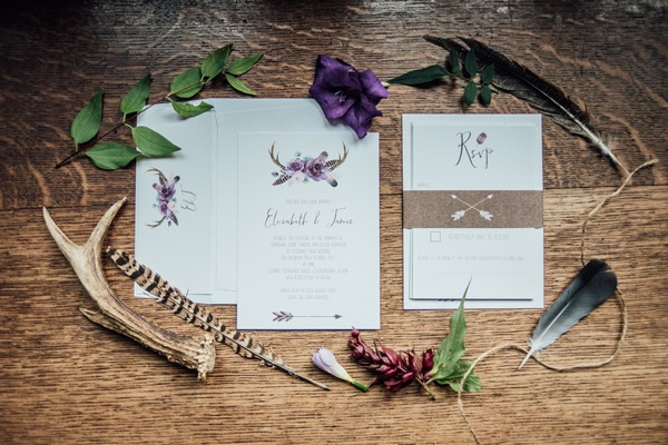 Feather and foraging themed wedding stationery
