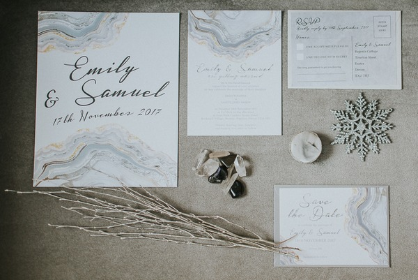 Silver and grey winter wedding stationery