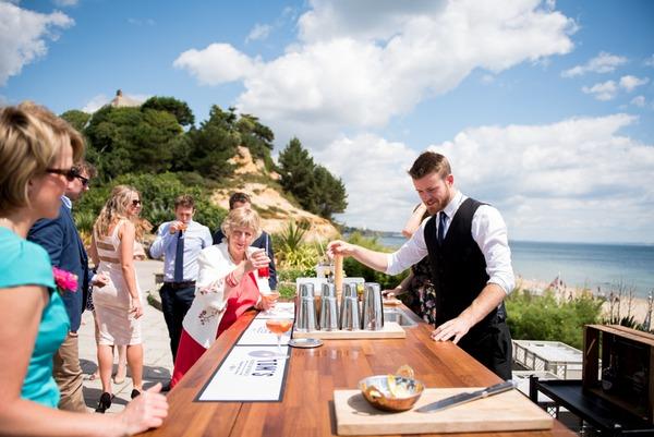 Outdoor bar at seaside wedding