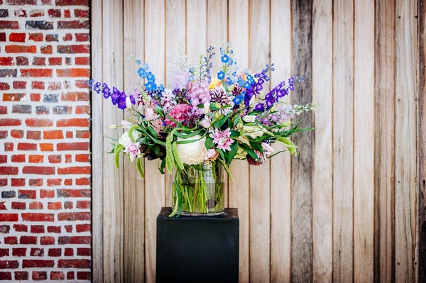 Vase of colourful flowers