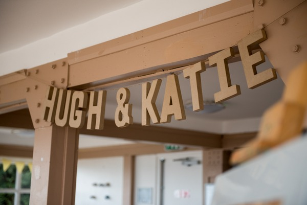Hanging wooden name sign