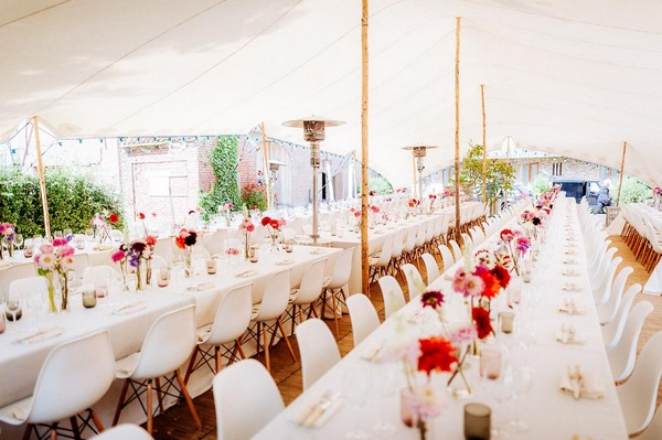 Long rows of wedding breakfast tables
