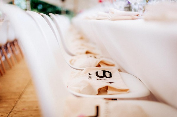 Wedding gift bags on chairs
