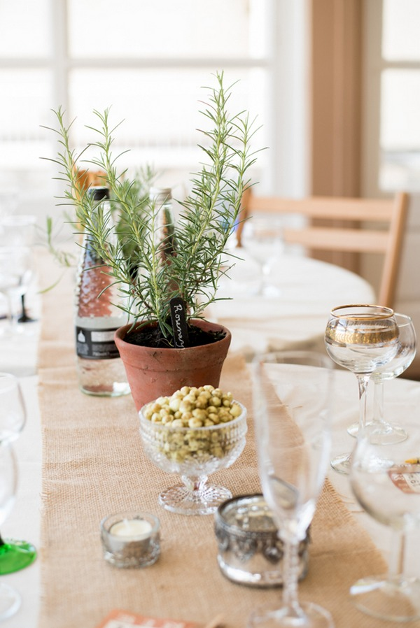 Pot of Rosemary on wedding table