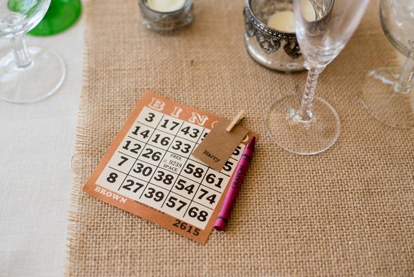 Bingo card on wedding table