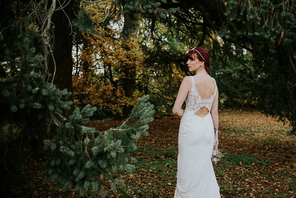 Bride wearing open back wedding dress