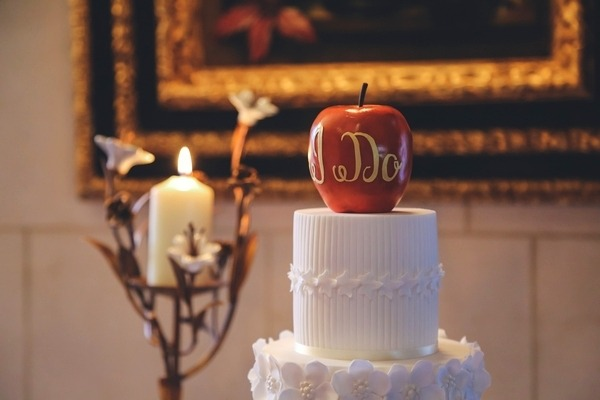 Red apple wedding cake topper