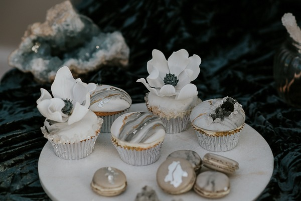 Cupcakes and macaroons with grey detail