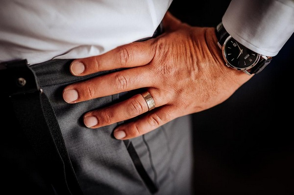 Ring on groom's finger