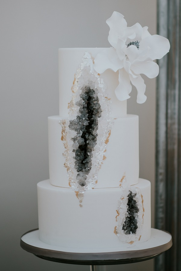 Grey geode wedding cake
