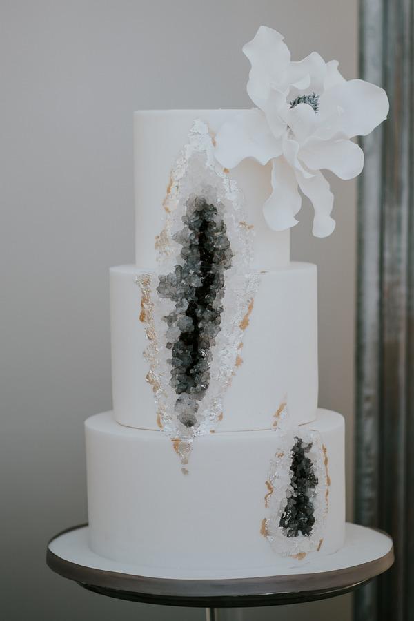 Grey geode wedding cake