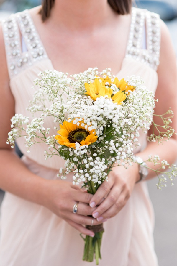 Sunflower and gypsophila bouquet
