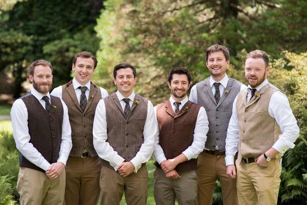 Groomsmen wearing tweed waistcoats