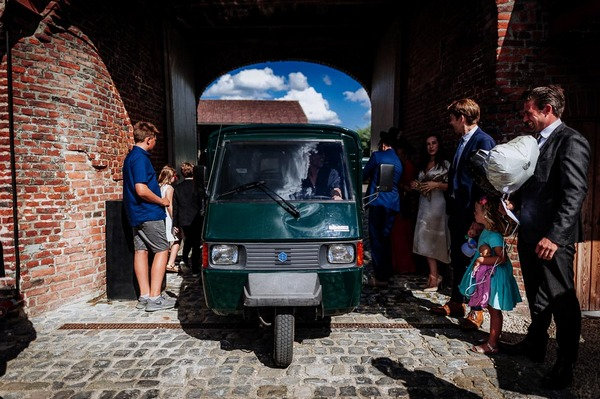Coffee van arriving at wedding