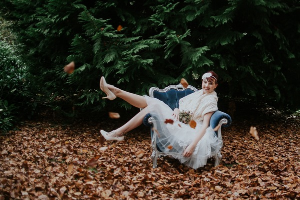 Bride leaning back in chair