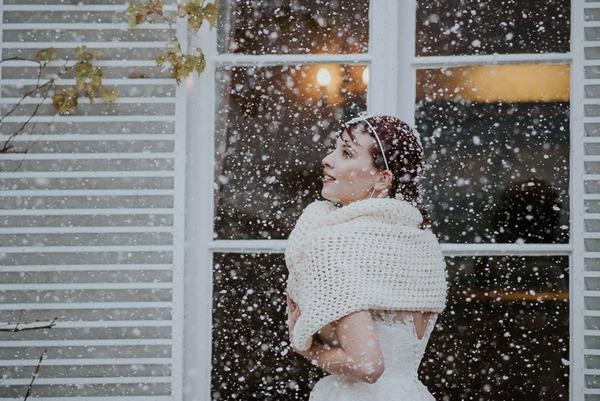 Bride in shrug in snow