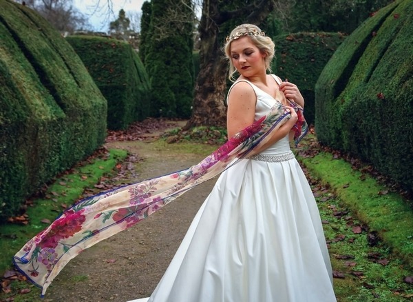 Bride with silk scarf