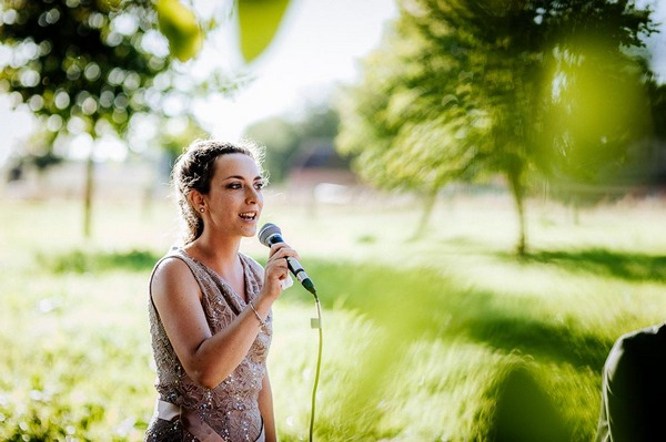 Woman speaking at wedding