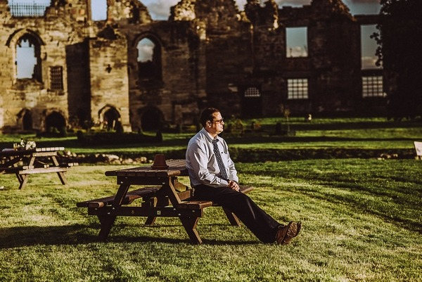 Guest relaxing in grounds of Tutbury Castle