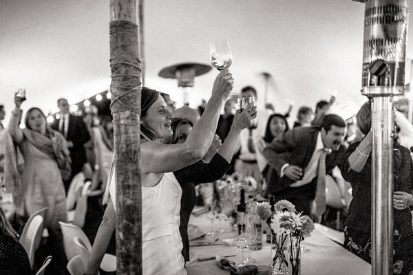 Wedding guests raising glasses for speech toast