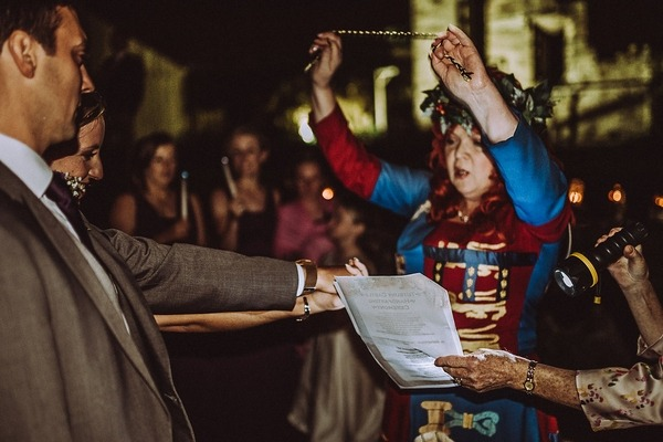 Medieval handfasting ceremony at Tutbury Castle wedding