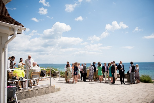 Reception drinks at seaside wedding in Bournemouth