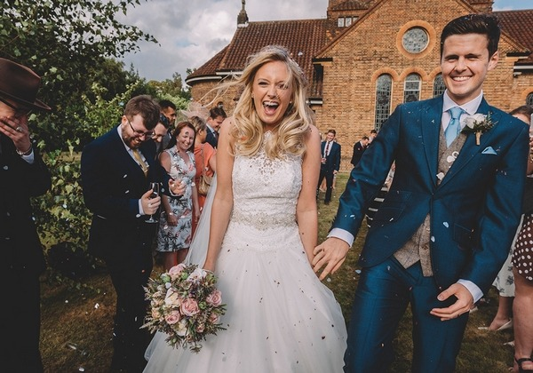 Bride and groom confetti shot - Picture by Emma-Jane Photography