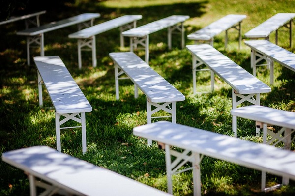 Wedding ceremony bench seating