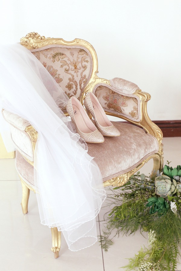 Bridal Shoes and Veil on Chair