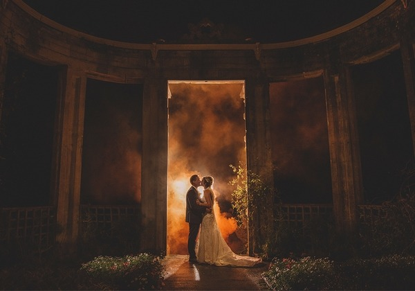 Bride and groom in grounds of Orchardleigh House at night - Picture by Emma-Jane Photography