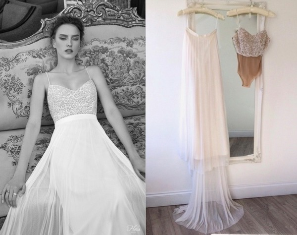 Lenny Two-Piece Wedding Dress by Flora Bridal