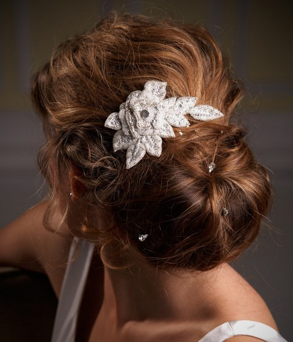 Bride with Chignon Hairstyle with Hair Comb and Hair Pins