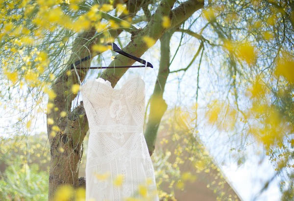Wedding dress hanging from tree branch