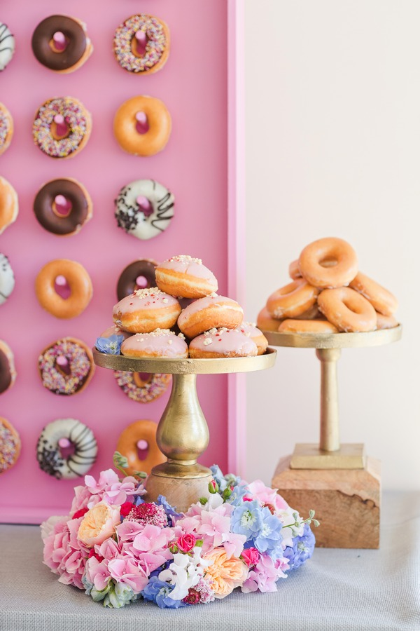 Two cake stands of doughnuts