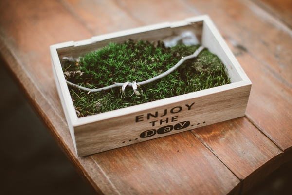Wedding rings in box of moss
