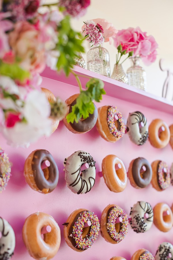 Doughnuts hanging on wall