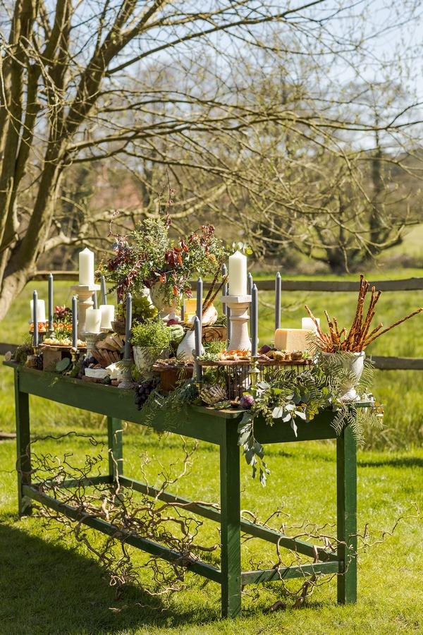 Autumn themed wedding grazing station