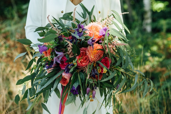 Large, colourful wedding bouquet