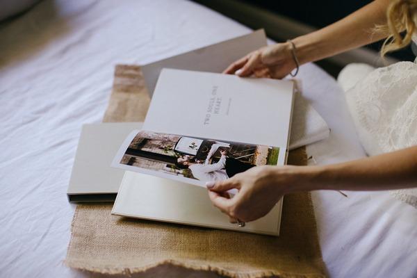Bride reading memory book