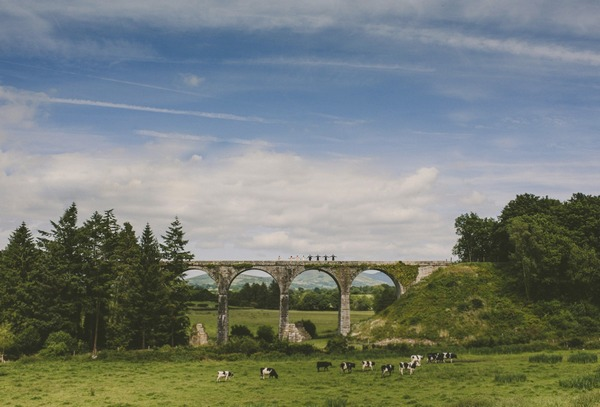 Bridal party standing in line on bridge in the distance - Picture by Darek Novak