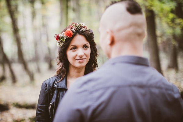Bride looking at groom during wedding vows