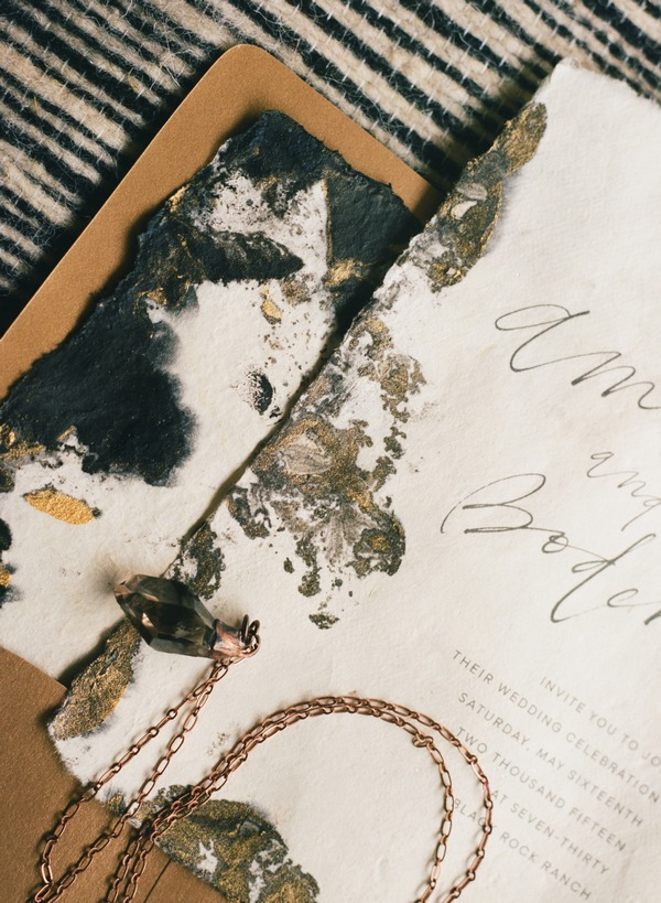 Detail on alternative wedding stationery