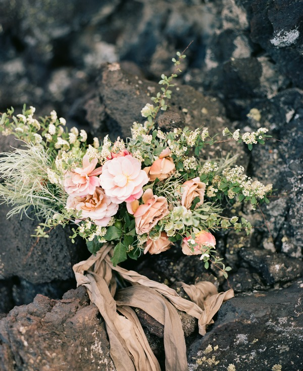 Bridal bouquet on rocks