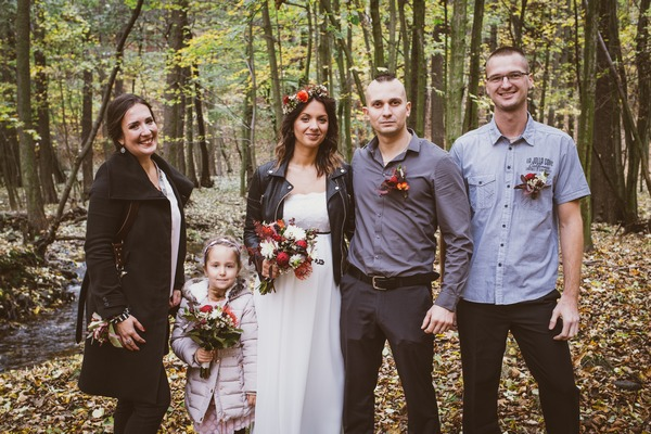 Group shot at intimate forest wedding