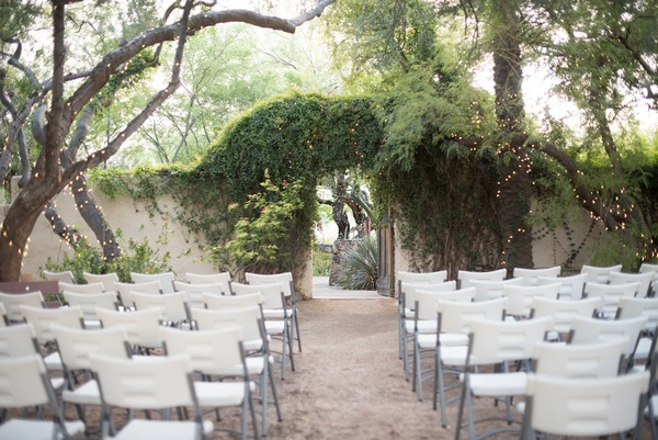 Ceremony seating at Tohono Chul Park wedding