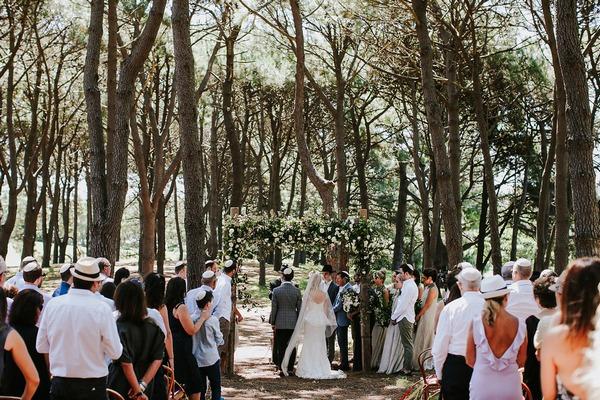 Wedding ceremony in woodland in Sydney
