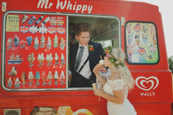 Bride and groom with ice cream van