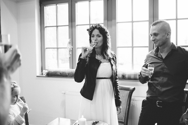 Bride sipping drink